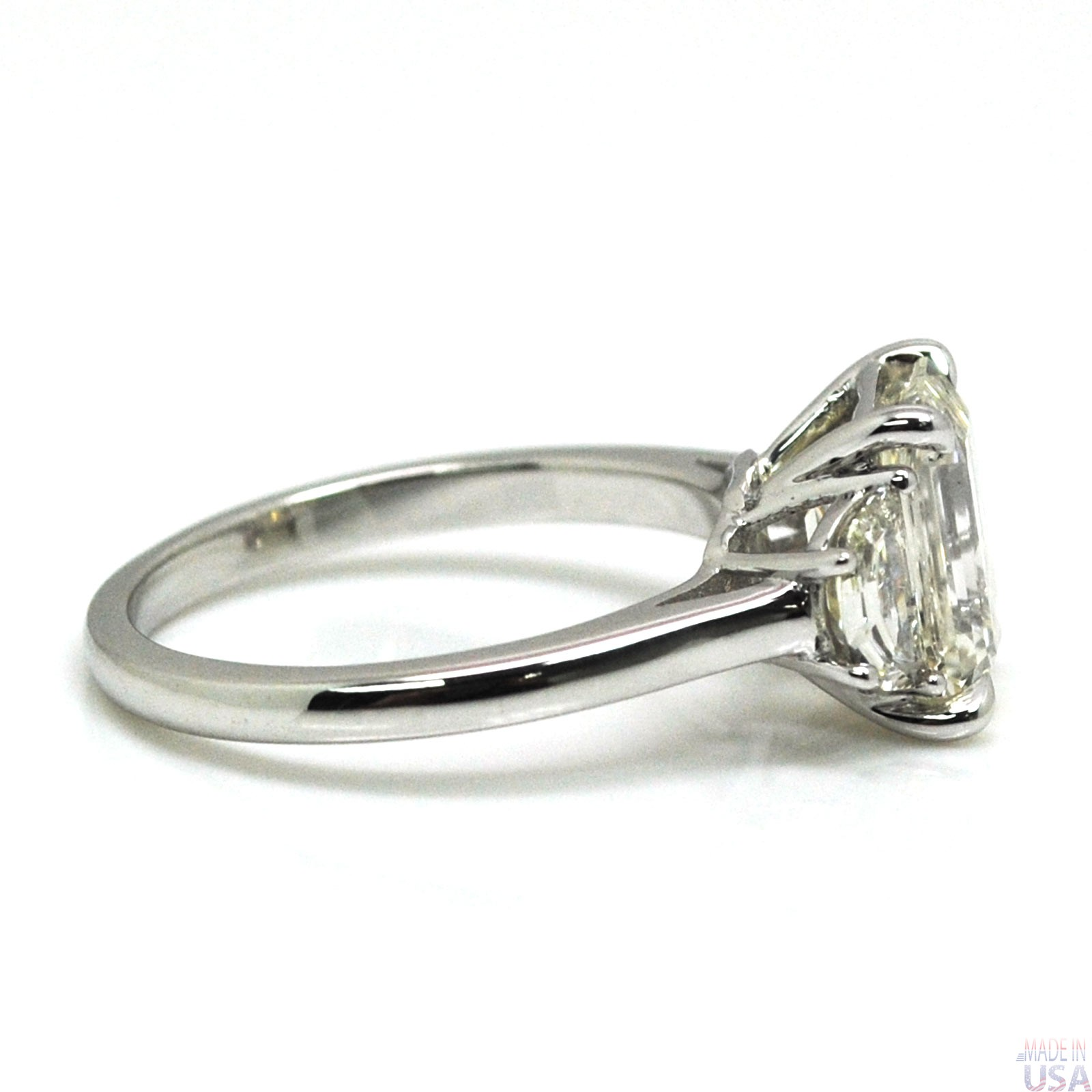 Natural 2 50ct Three Stone Emerald Cut Diamond Engagement Ring Engagement R