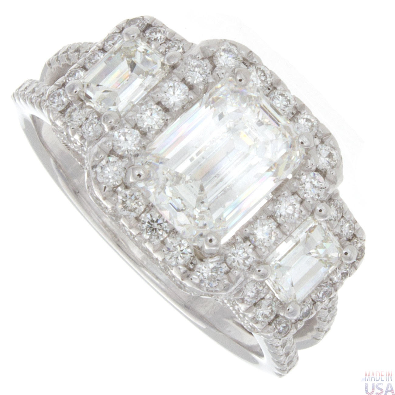 3 00ct certified emerald cut three pave engagement ring