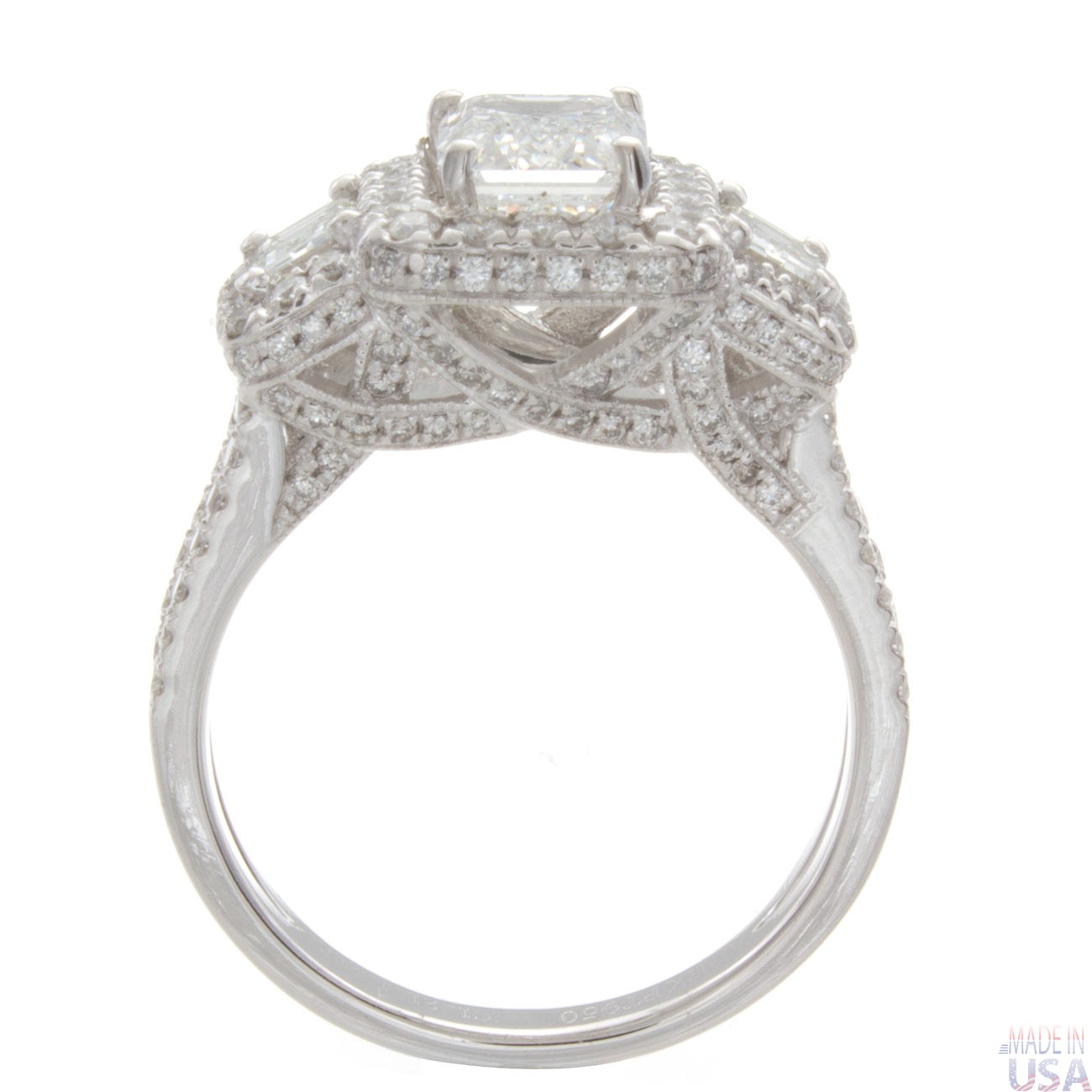 3 00ct certified emerald cut three pave engagement