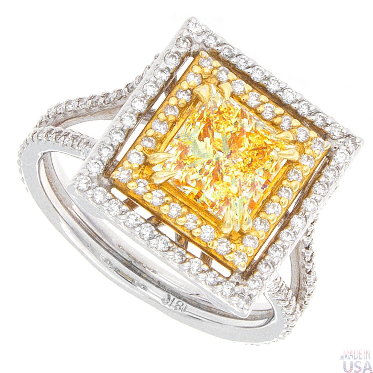 200ct Princess Cut Fancy Yellow Diamond Engagement Ring
