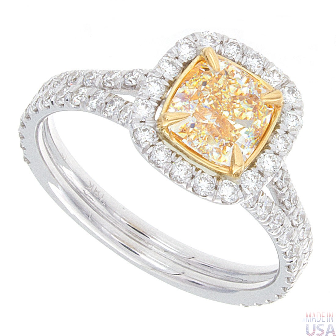 rings ring i cushion fancy yellow in diamond cts set cut engagement