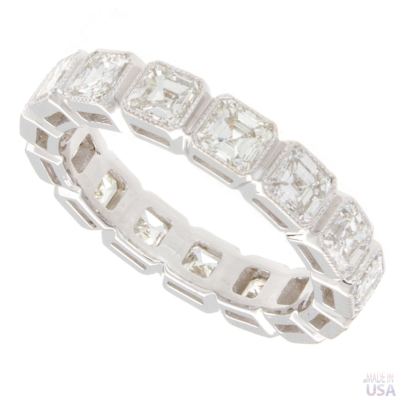 3.33ct Asscher Cut Diamond Vintage Eternity Band | eBay