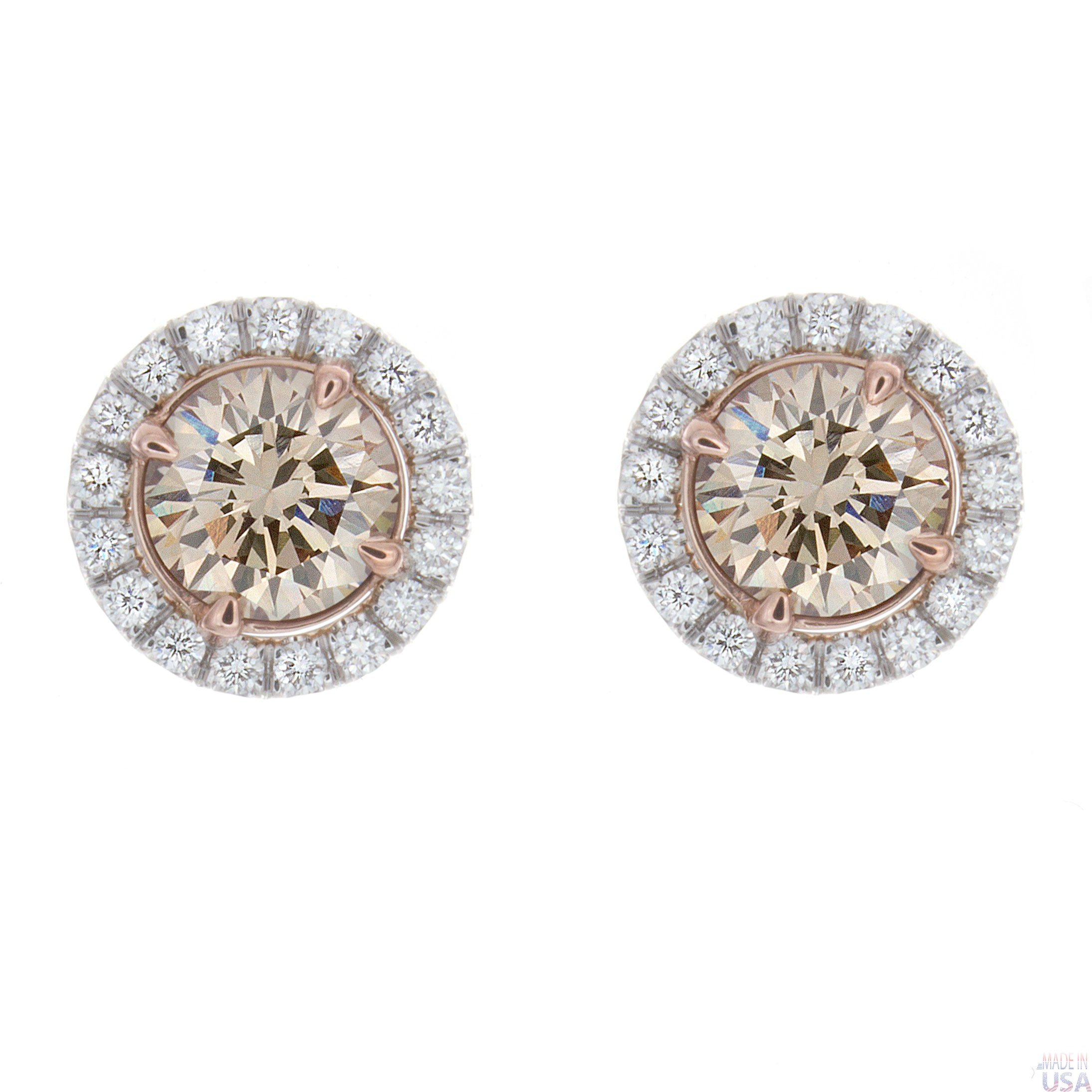 diamond shop champagne and rivoli stud crystal stone swarovski earrings silver clear