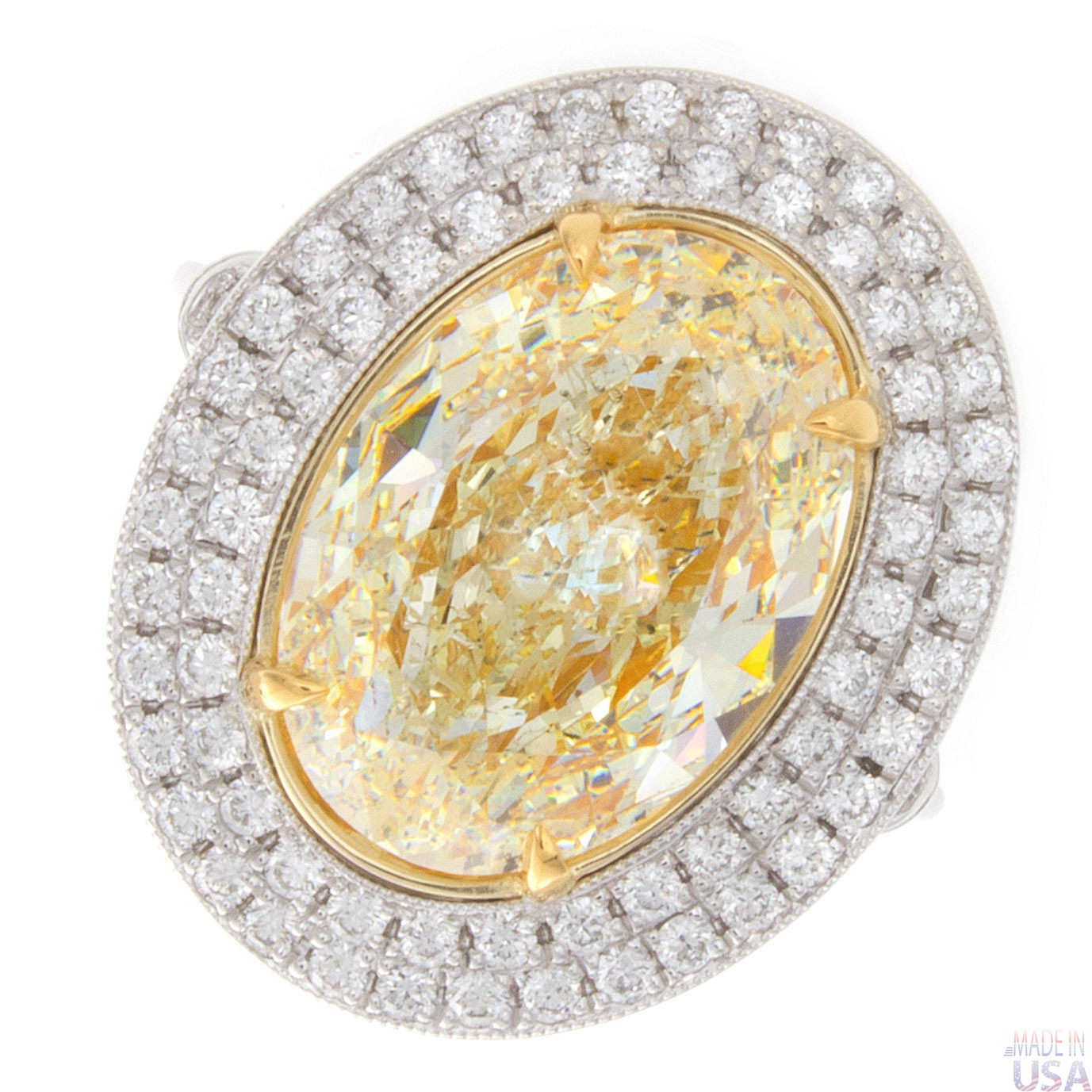 5 60ct Fancy Yellow Oval Cut Double Halo Diamond Engagement Ring