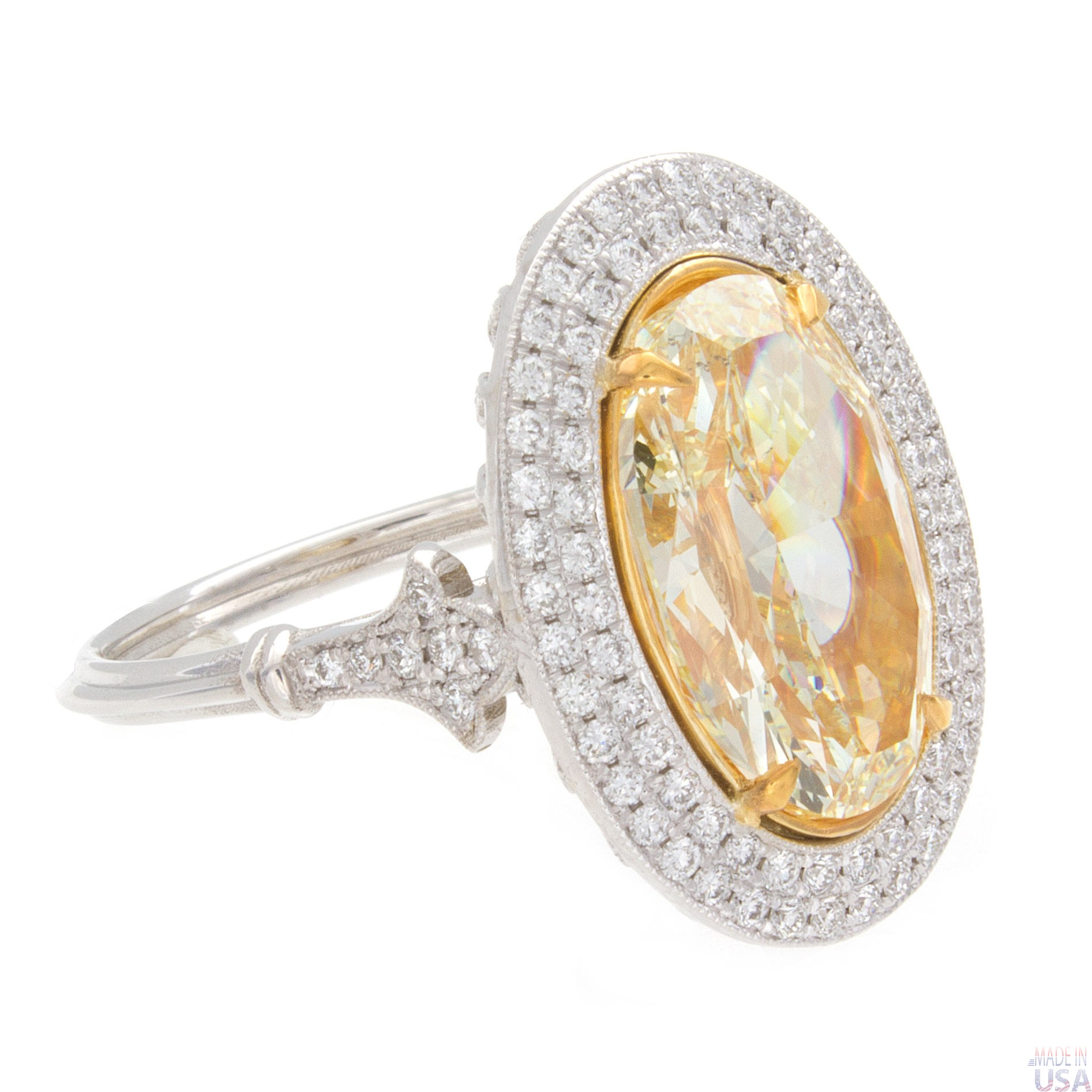 4 50ct oval cut fancy yellow halo pav 233 engagement ring