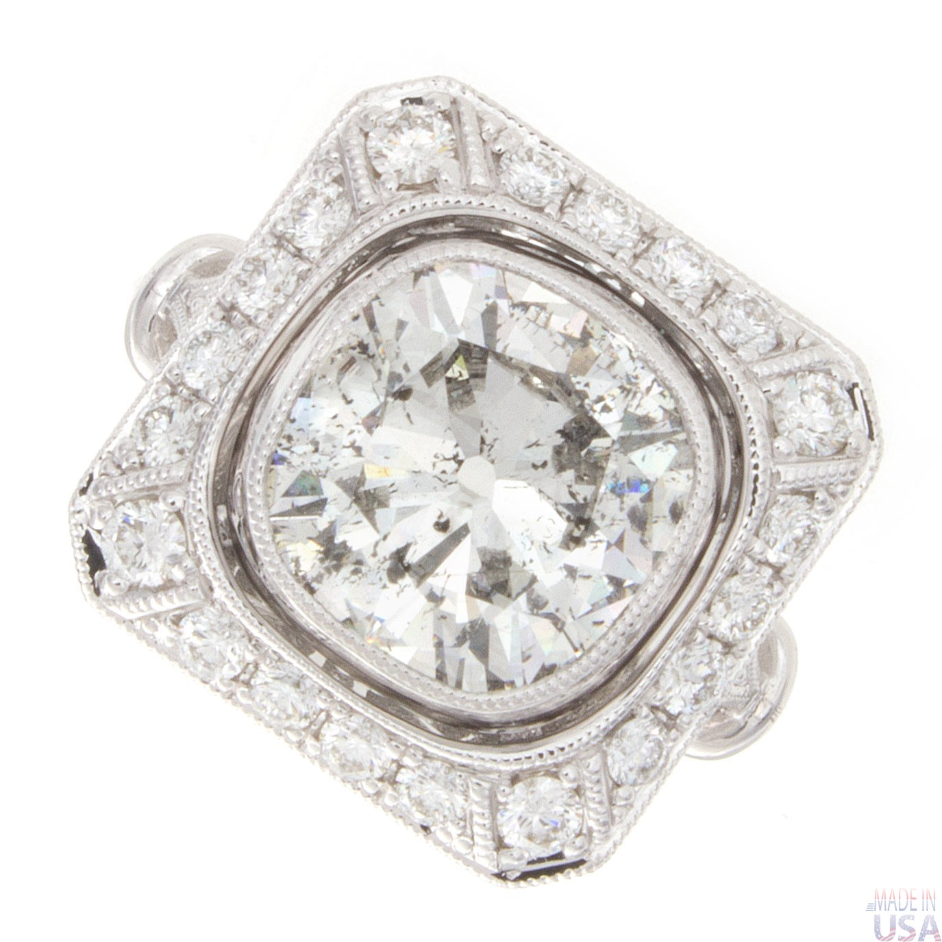 3 40ct Old Mine Cut Certified Diamond Engagement Ring