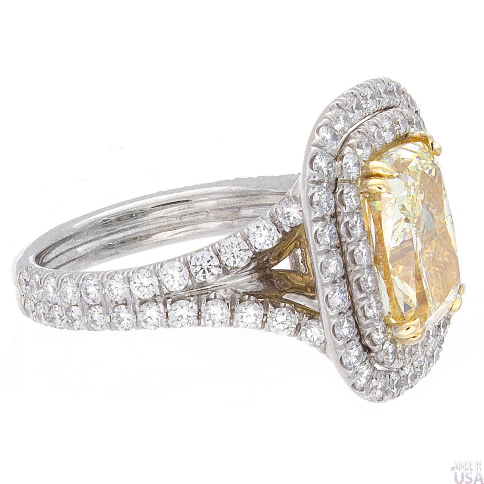 5 45ct Cushion Cut Fancy Yellow Certified Diamond Engagement Ring Halo Pavé