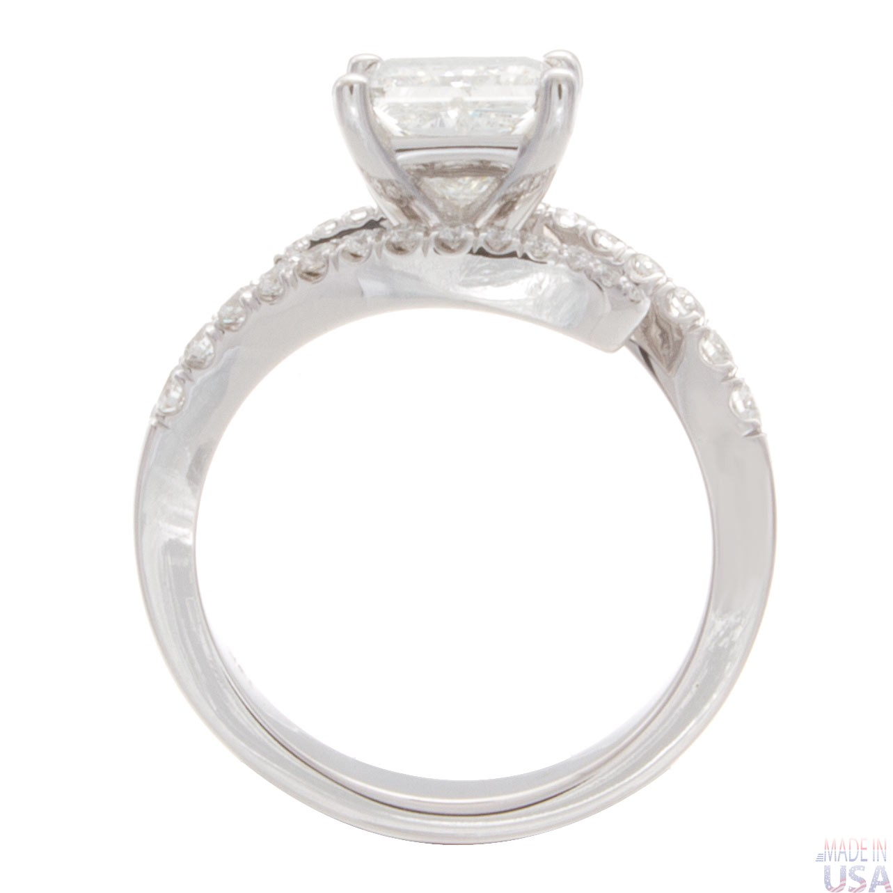 1 30ct princess cut pave twisted shank engagement ring