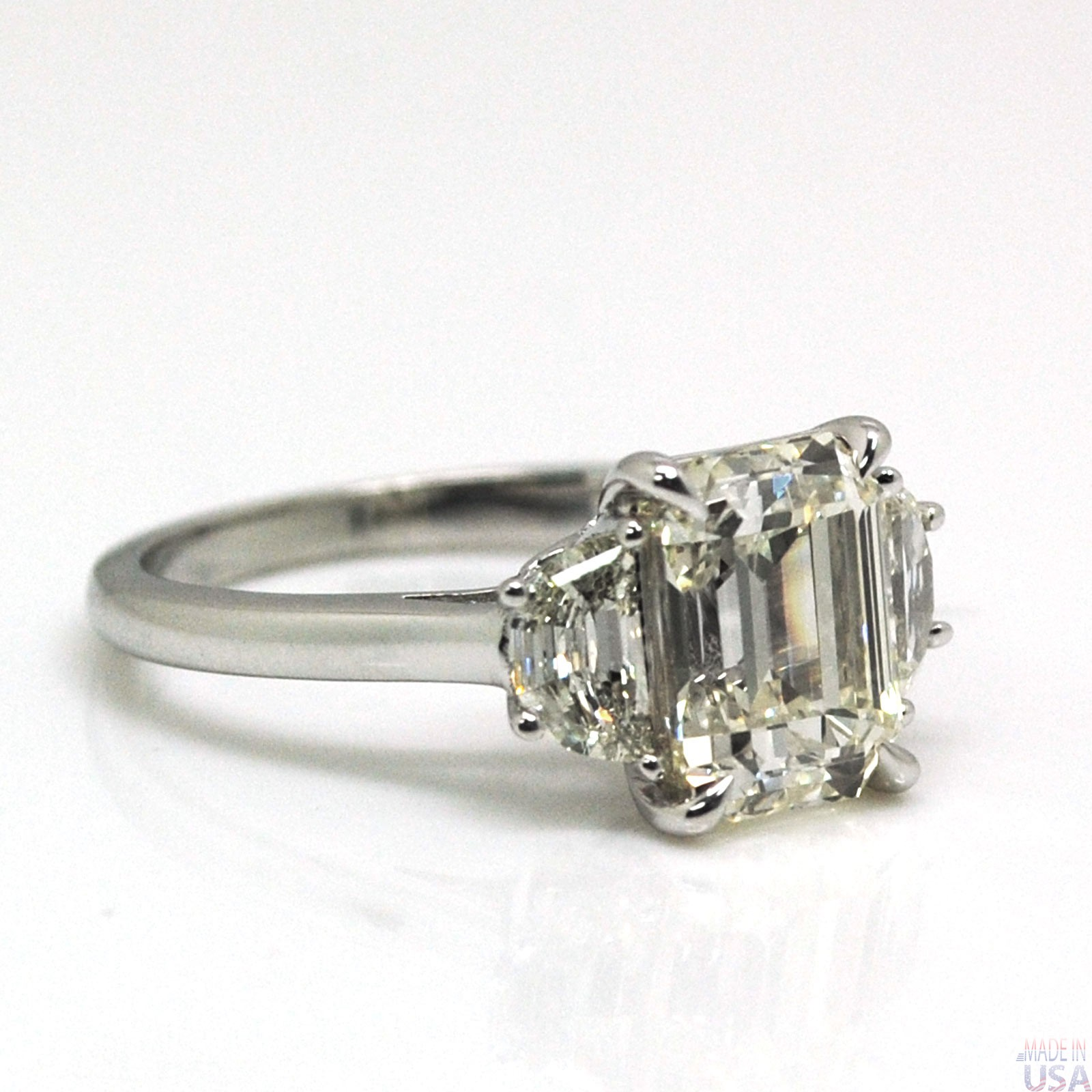 Natural 2 50ct Three Stone Emerald Cut Diamond Engagement Ring