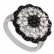 Ladies Black & White Diamond Cocktail Ring