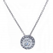 Ladies Solitaire Micropavé Diamond Pendant