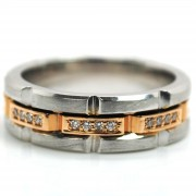 Two Tone Mens Diamond Band