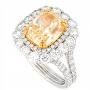 6.09ct Fancy Yellow Cushion Cut Diamond Ring GIA Certified