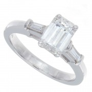 1.35ct Certified Emerald Cut Diamond Engagement Ring