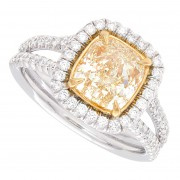 2.63ct Cushion Cut Certified  Fancy Yellow Diamond Engagement Ring
