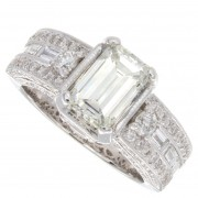2.50ct Certified Emerald Cut Diamond  Engagement Ring