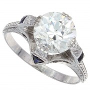 2.00ct Old Euro Cut Certified Diamond Antique Engagement Ring
