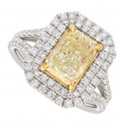 2.40ct Fancy Yellow Radiant Cut Diamond Engagement Ring