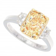 2.29ct Fancy Intense Yellow Radiant Cut Diamond Ring Certified