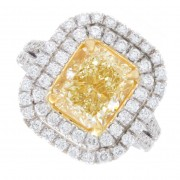 4.00ct Radiant Cut Certified Fancy Yellow Diamond Engagement Ring