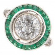3.00ct Round Cut with Special Cut Green Emeralds Diamond Engagement Ring
