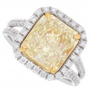 4.03ct Fancy Yellow Radiant Diamond Engagement Ring