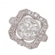 2.40ct Certified Old Mine Cut Diamond Antique Engagement Ring