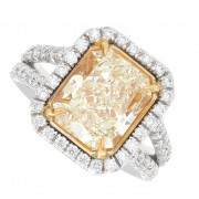 4.97ct Fancy Intense Yellow Radiant Cut Diamond Ring