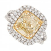 4.07ct Fancy Yellow Cushion Cut Halo Pavé Diamond Engagement Ring