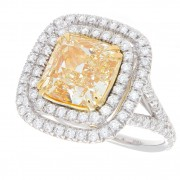 6.00ct Certified Fancy Yellow Pave'  Diamond Ring