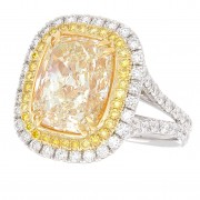 6.93ct Certified Fancy Light Yellow Cushion Diamond Ring