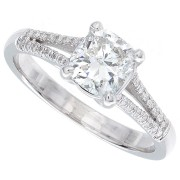 1.12ct Cushion Cut Diamond Engagement Ring Certified