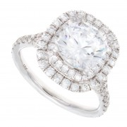 2.80ct Round Cut Double Halo Pavé Engagement Ring