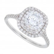 2.20ct Cushion Cut Double Halo Pavé Engagement Ring