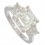5.00ct Asscher Cut Three stone Diamond Engagement Ring