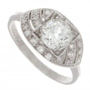 1.30ct Old European Cut Diamond Platinum Engagement Ring