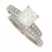 2.50ct Radiant Cut Certified Diamond Engagement Ring With Band