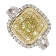 6.00ct Fancy Yellow Cushion Cut Certified Diamond Engagement Ring