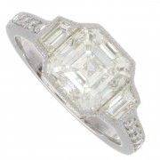 2.61ct Asscher Cut Certified Platinum Antique Engagement Ring