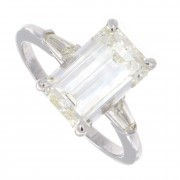 3.01ct GIA Certified Emerald Cut Three Stone Engagement Ring