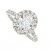 2.00ct Certified Oval Pave Diamond Engagement Ring
