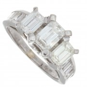 3.00ct Certified Emerald Cut Diamond Engagement Ring