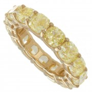 9.61ct Certified Canary Yellow Cushion Diamond Eternity Band