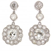 10.00ct ttw Old European Cut Antique Diamond Earrings