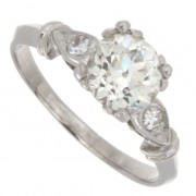 1.08ct Certified Old European Antique Three Stone Diamond Engagement Ring