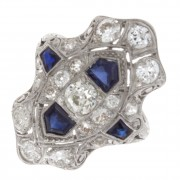 1.40ct ttw Platinum Diamond Art Deco Antique Ring w/ Synthetic Sapphires