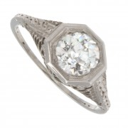 1.00ct Old European Cut Certified Antique Diamond Engagement Ring