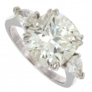 5.35ct Cushion Cut Three Stone Engagement Ring