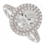 1.50ct Certified Oval Diamond Pave Halo Engagement Ring