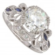 2.15ct Old European GIA certified Antique Diamond and Blue Sapphire Platinum Engagement Ring